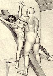 Crucifixion - keep in whipping her tits all day by Badia