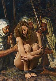 Covering her breasts - Slavegirls in an oriental world by Damian art